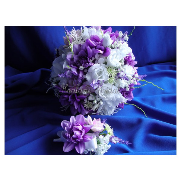 Purple and White Silk Flower Bouquet - Hoalane Bridal